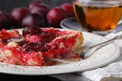 Gâteau délicieux de prune avec la prune organique Images libres de droits