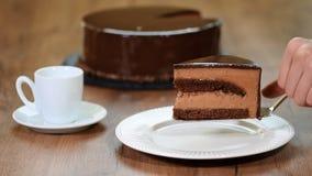 Gâteau délicieux fait maison de mousse de chocolat banque de vidéos