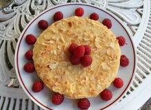 Gâteau d'amande avec des framboises autour et sur de dessus Photographie stock libre de droits