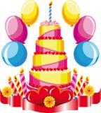 Gâteau d'anniversaire avec des félicitations Photo libre de droits