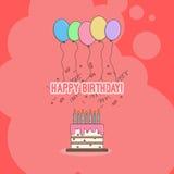 Gâteau d'anniversaire avec des félicitations avec le joyeux anniversaire et les bougies avec les ballons et les confettis colorés Photos libres de droits