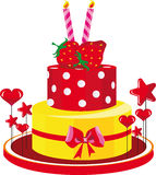 Gâteau d'anniversaire avec des félicitations de fraises Photos stock