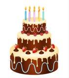 gâteau d'anniversaire avec du chocolat, des fraises et des cerises illustration libre de droits