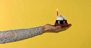 Gâteau d'anniversaire avec la bougie banque de vidéos
