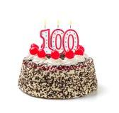 Gâteau d'anniversaire avec la bougie numéro 100 Photographie stock libre de droits