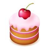 Gâteau d'anniversaire avec la cerise Photographie stock