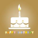 Gâteau d'anniversaire avec la seule bougie sur le dessus Photographie stock