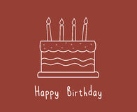 Gâteau d'anniversaire blanc mignon illustration libre de droits
