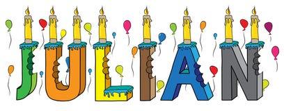 Gâteau d'anniversaire coloré mordu du lettrage 3d de prénom de mâle de Julian avec des bougies et des ballons illustration stock