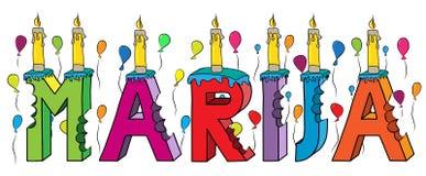 Gâteau d'anniversaire coloré mordu femelle du lettrage 3d de prénom de Marija avec des bougies et des ballons illustration libre de droits