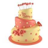 Gâteau d'anniversaire d'isolement Photographie stock libre de droits