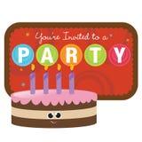 Gâteau d'anniversaire d'isolement avec le signe Image libre de droits