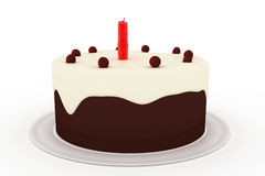 Gâteau d'anniversaire d'isolement sur le fond blanc Photographie stock