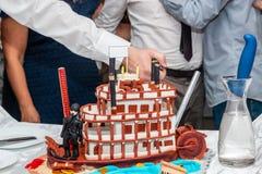 Gâteau d'anniversaire de bateau image stock