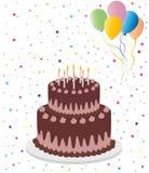 Gâteau d'anniversaire de chocolat avec des ballons illustration stock