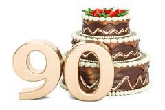 Gâteau d'anniversaire de chocolat avec le nombre d'or 90, rendu 3D illustration libre de droits