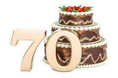 Gâteau d'anniversaire de chocolat avec le nombre d'or 70, rendu 3D illustration libre de droits