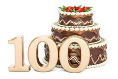 Gâteau d'anniversaire de chocolat avec le nombre d'or 100, rendu 3D illustration libre de droits