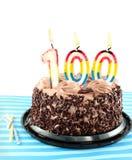 Gâteau d'anniversaire de chocolat de forêt noire Photos libres de droits