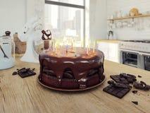 Gâteau d'anniversaire de chocolat rendu 3d Images stock