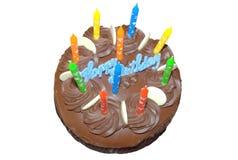 Gâteau d'anniversaire de Cholalate avec des bougies Photos libres de droits