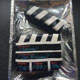 Gâteau d'anniversaire de film Photos stock