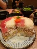 Gâteau d'anniversaire de sushi Photo stock