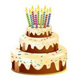 Gâteau d'anniversaire et bougie photographie stock libre de droits