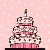 Gâteau d'anniversaire rose Photographie stock libre de droits