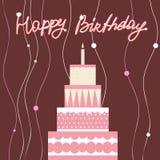 Gâteau d'anniversaire rose Images libres de droits