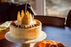 Gâteau d'anniversaire savoureux admirablement décoré images libres de droits