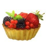 Gâteau d'aquarelle avec des baies : groseilles rouges, fraises, mûres et menthe Image stock