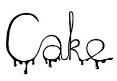 Gâteau d'inscription sur le fond blanc Photo stock