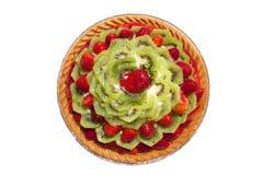 Gâteau d'isolement rond de fruit Photographie stock libre de droits