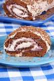 Gâteau de bûche de chocolat Photos libres de droits