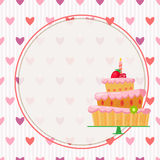 Gâteau de bande dessinée avec les fraises rouges Photo libre de droits