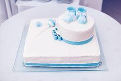 Gâteau de baptême Photos libres de droits