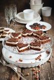Gâteau de biscuit sous forme de coeur avec du chocolat Photo stock