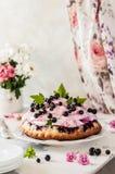 Gâteau de Blackberry avec l'écrimage de guimauve Photo stock