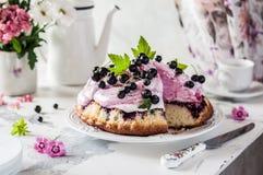 Gâteau de Blackberry avec l'écrimage de guimauve Photos libres de droits