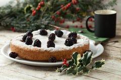 Gâteau de Blackberry et tasse de café Photographie stock