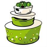 Gâteau de blanc et de vert Photographie stock libre de droits