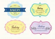 Gâteau de boulangerie de label image stock