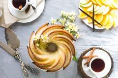 Gâteau de Bundt avec le lustre de sucre et de chocolat sur le fond blanc Photo libre de droits