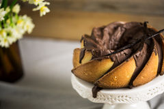 Gâteau de Bundt avec le lustre de sucre et de chocolat sur le fond blanc Image stock