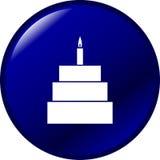Gâteau de célébration avec le symbole de bouton de vecteur de bougie Photo libre de droits
