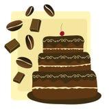 Gâteau de café et de chocolat Photographie stock libre de droits