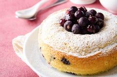 Gâteau de cassis sur le fond rose avec le thé, Images libres de droits