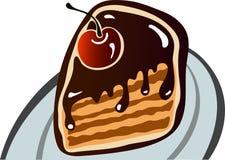 Gâteau de cerise de chocolat images libres de droits