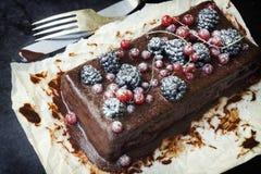 Gâteau de chocolat avec des baies d'été image libre de droits